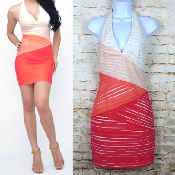 63f4502c1460b Bebe Tiered Bandage Bodycon Dress Halter Top Sexy